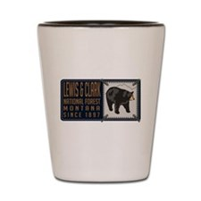 Lewis Clark Black Bear Badge Shot Glass
