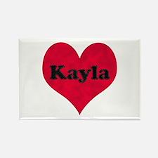 Kayla Leather Heart Rectangle Magnet