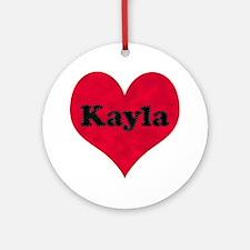 Kayla Leather Heart Round Ornament