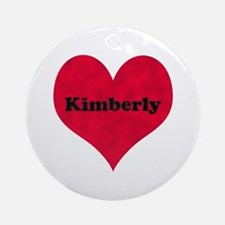 Kimberly Leather Heart Round Ornament