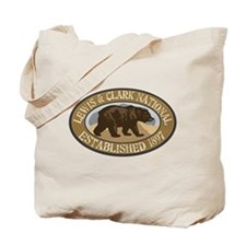 Lewis Clark Brown Bear Badge Tote Bag