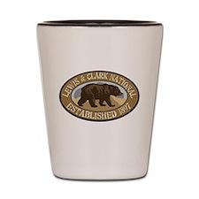 Lewis Clark Brown Bear Badge Shot Glass