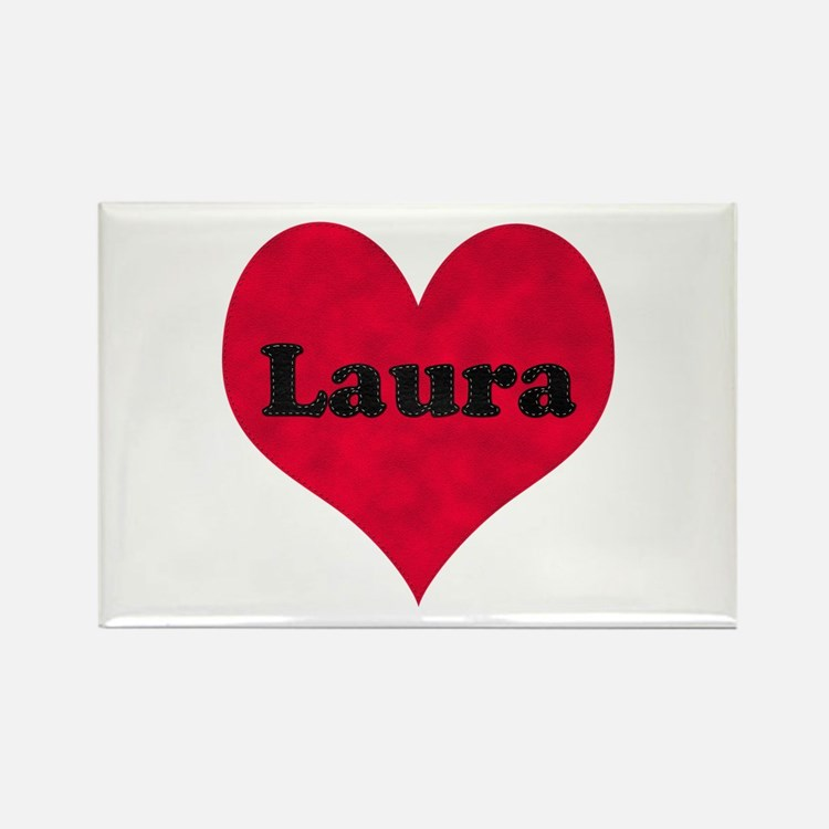 Laura Leather Heart Rectangle Magnet