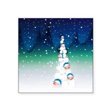 Barack Obama Snowball Christmas Tree Square Sticke