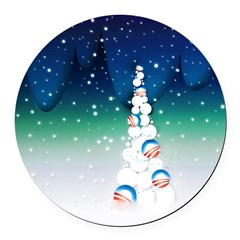 Barack Obama Snowball Christmas Tree Round Car Mag
