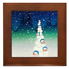 Barack Obama Snowball Christmas Tree Framed Tile