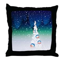 Barack Obama Snowball Christmas Tree Throw Pillow