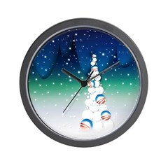 Barack Obama Snowball Christmas Tree Wall Clock