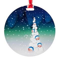 Barack Obama Snowball Christmas Tree Ornament