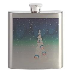 Barack Obama Snowball Christmas Tree Flask
