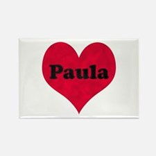 Paula Leather Heart Rectangle Magnet