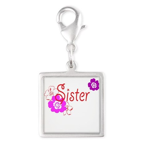 Sister Silver Square Charm