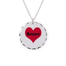 Renee Leather Heart Necklace Circle Charm
