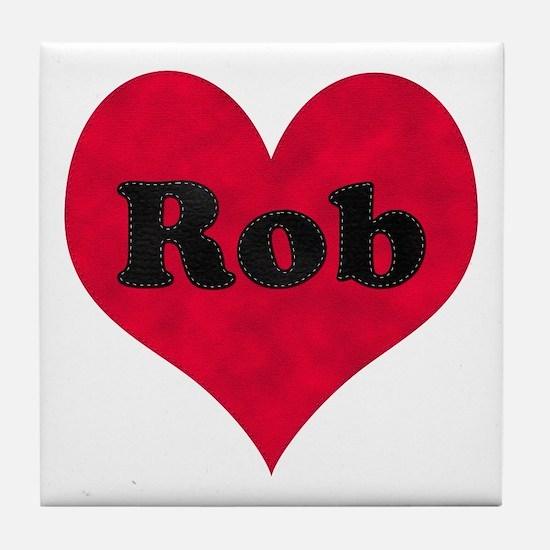 Rob Leather Heart Tile Coaster