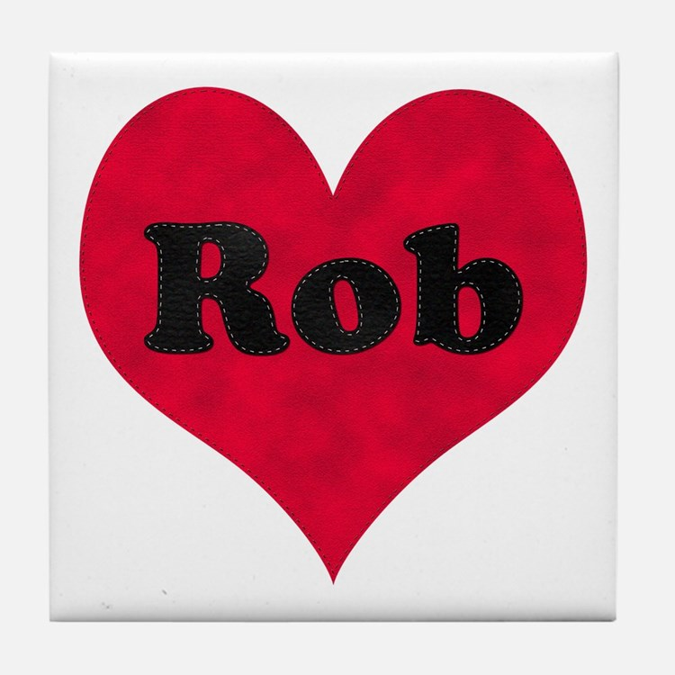 Rob Leather Heart Tile Coaster