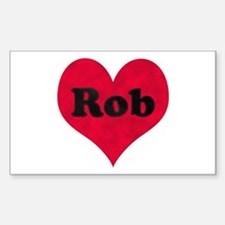 Rob Leather Heart Rectangle Decal