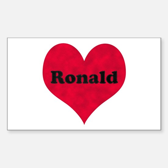 Ronald Leather Heart Rectangle Decal