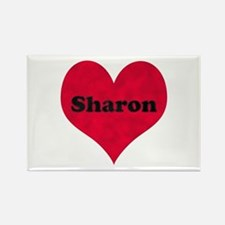 Sharon Leather Heart Rectangle Magnet