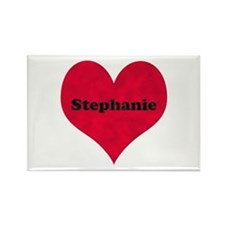 Stephanie Leather Heart Rectangle Magnet