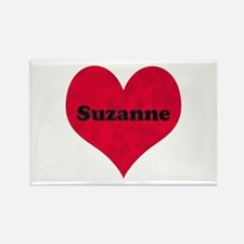Suzanne Leather Heart Rectangle Magnet