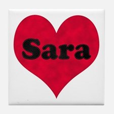 Sara Leather Heart Tile Coaster