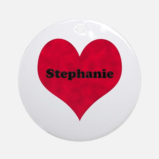 Stephanie Leather Heart Round Ornament