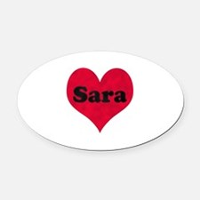 Sara Leather Heart Oval Car Magnet