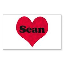 Sean Leather Heart Rectangle Decal