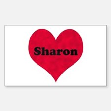 Sharon Leather Heart Rectangle Decal