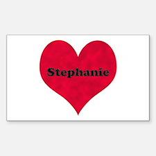 Stephanie Leather Heart Rectangle Decal