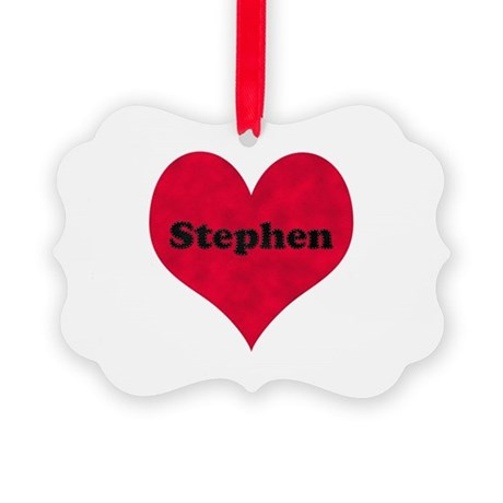 Stephen Leather Heart Picture Ornament