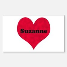Suzanne Leather Heart Rectangle Decal