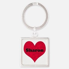 Sharon Leather Heart Square Keychain