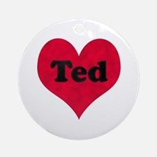 Ted Leather Heart Round Ornament