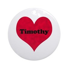 Timothy Leather Heart Round Ornament