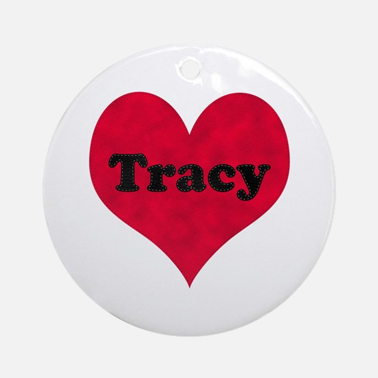Tracy Leather Heart Round Ornament