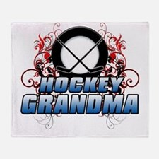 Hockey Grandma (cross).png Throw Blanket