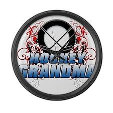 Hockey Grandma (cross).png Large Wall Clock