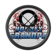 Hockey Grandpa (cross).png Large Wall Clock