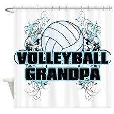 Volleyball Grandpa (cross).png Shower Curtain