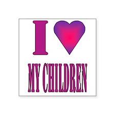 """I heart children...girls Square Sticker 3"""" x 3"""""""