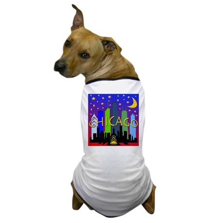 Chicago Skyline nightlife Dog T-Shirt