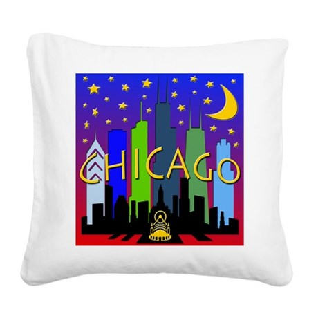 Chicago Skyline nightlife Square Canvas Pillow
