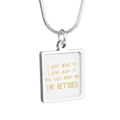 You Cant Make Me! Silver Square Necklace