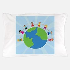 Kids Holding Hands Pillow Case