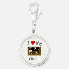 Love My Girls Silver Round Charm