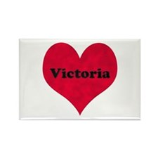 Victoria Leather Heart Rectangle Magnet