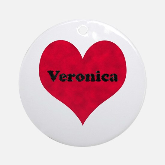 Veronica Leather Heart Round Ornament