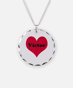 Victor Leather Heart Necklace Circle Charm