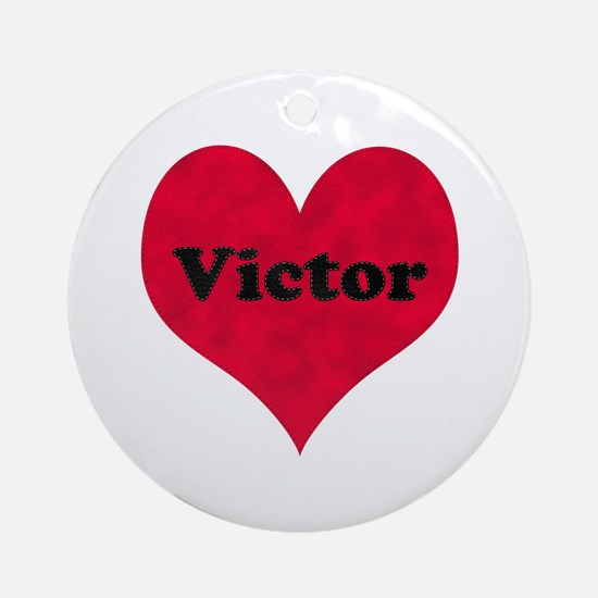 Victor Leather Heart Round Ornament
